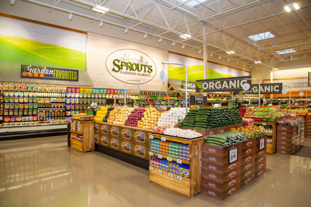 Produce Department with Sprouts sign in the back