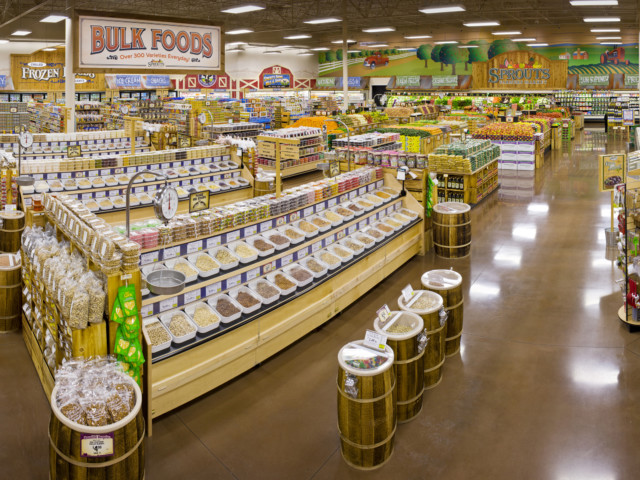 A wide-angle shot of a Sprouts store interior showing almost every department.