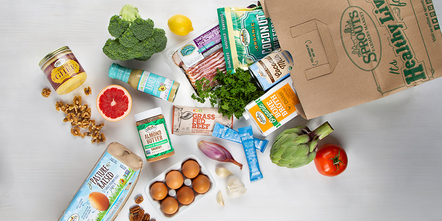 Grocery Bag with produce and food products